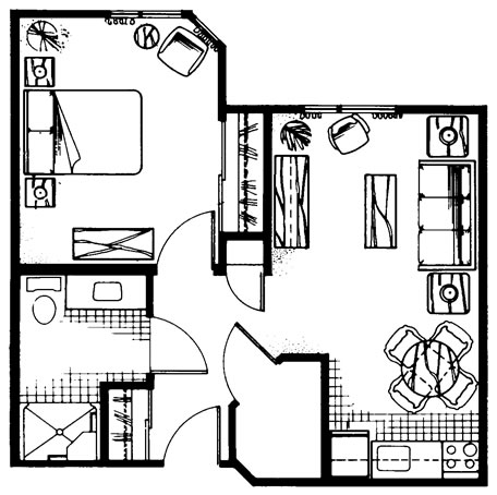 One Bedroom 560 sq. ft.