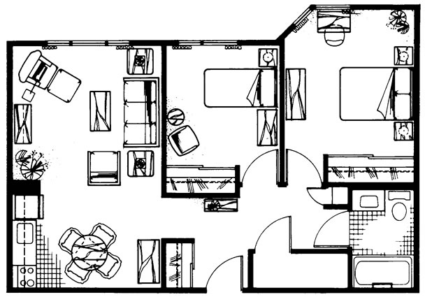 E - Two Bedroom  760 sq. ft