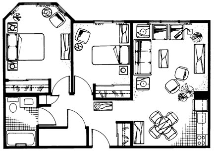 Two Bedroom 760 sq. ft.
